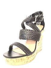 Steve Madden Settle Women's Black Synthetic Cork Wedge Sandals Size 8 M