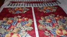 VALANCE 2 PANELS CAFE CURTAINS SET FRUIT PLAID DESIGN W/ SILVER CURTAIN RINGS