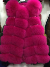 hot Women's Warm Gilet Outwear Long Slim Vest Faux Fox Fur Waistcoat Jacket Coat