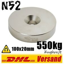 Neodimio imán con agujero 100x20mm 550kg fuerza de tracción n52 neodymium disco taller