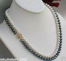 New 2rows 7-8mm black white Natural Freshwater Cultured Pearl Necklace 18""