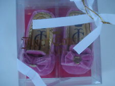 JUICY COUTURE BABY BALLET SHOE LOAFERS PINK VELVET 2 (3 TO 6 MONTHS) NEW