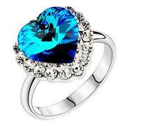 ROYAL Blue heart of ocean strass anelli Taglia O / 7 FR23