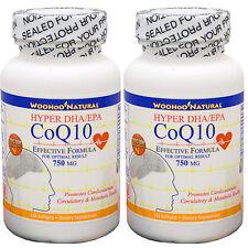 2 x CoQ-10 (CoQ10) + DHA/EPA Omega 3 Fish Oil Formula 120 SGels, FRESH+FREE SHIP