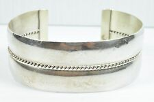 Authentic TAHE Navajo Sterling Silver Hand Twist Rope Cuff Bracelet 37g