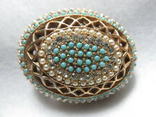 """Vintage Large Signed """"HAR"""" Brooch Faux Turquoise/Rhinestone/Pearl"""