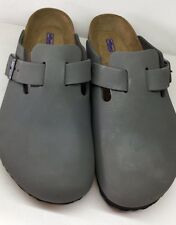 Birkenstock Boston 1002588 Size 37 L6M4 R Gunmetal Nubuck Soft Footbed Clogs