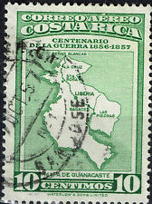 Costa Rica detailed map old stamp 1957