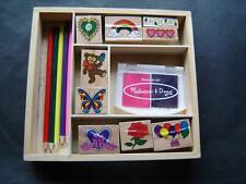 Melissa & Doug Friendship Stamp Set 9 Wooden Stamps 2 Pads 5 Colored Pencils