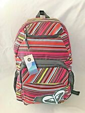 """ROXY Pink Stripe 5X12X16"""" Back Pack Purse Handbag with 6 Compartments"""