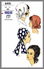 Vintage Vogue Millinery Hat Scarf Headcover Fabric material sewing pattern #6410