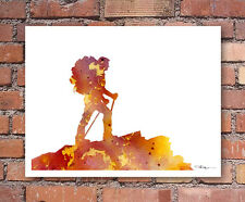 Hiker Abstract Watercolor Painting Art Print by Artist DJ Rogers