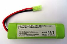 9.6V 1600mAh RECHARGEABLE Ni-MH 2/3A BATTERY PACK AEG AIRSOFT MINI TAMIYA PLUG