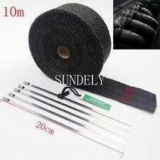 "2"" x 10M Black Exhaust Heat Wrap Manifold Downpipe High Temp Bandage Tape Roll"