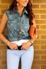 NWT~Levi's~Cap Sleeve Stone Washed Denim Shirt~Western~M~$65 **SOLD OUT ONLINE**