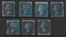 (ST904) GB QV 2d Blue SG45/6/7 Collection of All Plates with Certificate - Used