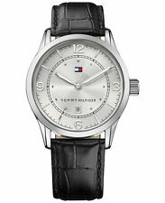 TOMMY HILFIGER Men's Casual Sport Black Leather Strap Watch 42mm 1710331 NIB/NWT