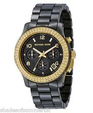 MICHAEL KORS MK5270 GOLD BLACK CERAMIC BRACELET CHRONOGRAPH LADIES WATCH