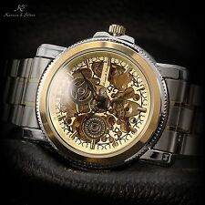 KS Men's Gold Skeleton Automatic Mechanical Stainless Steel Sport Wrist Watch