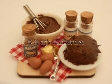 Dolls House Cibo: fare Torta al Cioccolato Fudge Prep Board-by Fran