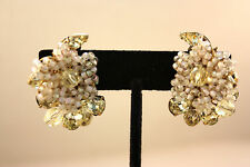 Vintage Eugene Yellow Rhinestone & Glass Beaded Earrings!