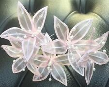 5 Wedding Prom  Shiny Light Pink  Lily Flower Hair Pins Clips handmade