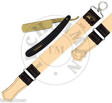 GOLDEN SALON STRAIGHT CUT THROAT SHAVING RAZOR WITH LEATHER STROP STRAP BELT NEW
