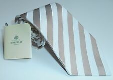 NWT BORRELLI TIE SILK and LINEN - WHITE and  BEIGE striped - new collections