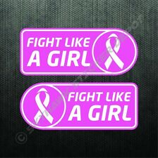 Fight Like A Girl Ribbon Sticker Set Vinyl Decal Breast Cancer Awareness Decal