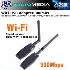 USB WiFi Adapter 300mbs -Windows Mac Linux w/Driver Disc AirNet300 802.11n, g, b
