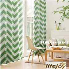 Green Moroccan Nordic Blockout Curtains Stripe Eyelet Blackout Curtain 140cm w