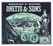Onetto & Sons, manufacturing of Macaroni, vintage can label, Naples Italy, coin