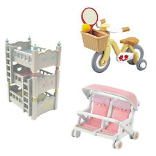 3 Sylvanian Families Sets – Bike, Double Baby Carriage and Triple Bunk Bed