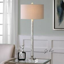 RIBBED MERCURY GLASS TABLE LAMP LIGHT LINEN SHADE BRUSHED NICKEL CRYSTAL BASE
