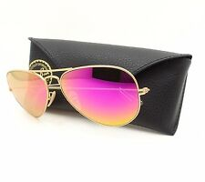Ray Ban Aviator 3025 112/1Q Matt Gold Fucsia Mirror Polarized Sunglass Authentic