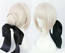 Fate Stay Night Saber alter Black Cos Silver Cosplay Wig Hair + Black Bows
