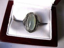 ANTIQUE 10K WHITE GOLD FILIGREE RING:NATURAL MOONSTONE & DIAMONDS,ART DECO