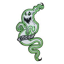 Glow-In-The-Dark Ghost Halloween Monster Embroidered Iron-On Applique Patch