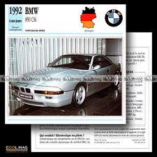 #089.12 BMW 850 CSi (1992) - Fiche Auto Car card