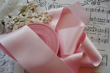 """1y VINTAGE 2 1/2"""" SATIN BABY PINK MILLINERY RIBBON TRIM FLOWER FRENCH COTTAGE"""