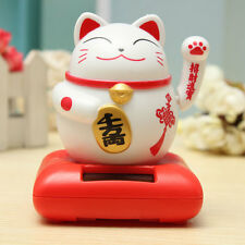 Solar Powered Maneki Neko Welcoming Lucky Beckoning Fortune Cat Home Decor Furni