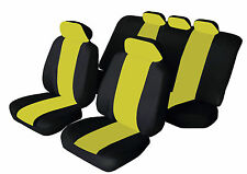 FIAT STILO Universal SPORTY Fabric Car Seat Covers BLACK & YELLOW