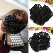 Cheveux Pince Griffes de Fleur Noir Mousseline Elégant coréenne Rose fleur