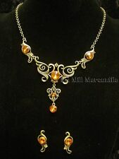 Antique Victorian style antique gold toned costume jewelry necklace with earring