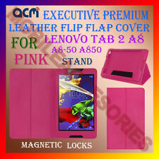 ACM-EXECUTIVE LEATHER FLIP CASE for LENOVO TAB 2 A8 A8-50 A850 COVER STAND-PINK