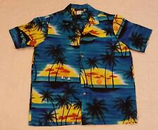 Men's Hawaiian Shirt Poly Resort Wear Made in USA Sz Large Casual Wear Brand