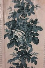 "French Antique c1870 ""Crispy"" Rose Chintz Unused Sample Fabric Textile"