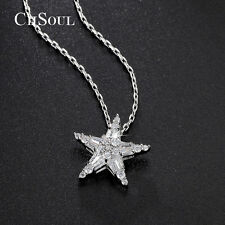 Stunning Star Round Crystal CZ Pendant Necklace Link Chain Gold Plated Jewelry