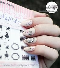 1Pc Nail Art Water Decals Transfer Sticker Lady Black Lace Manicure Decoration