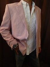 Alan Flusser MENS Jacket Blazer Sport Coat RED White Seersucker Cotton NEW 44 R